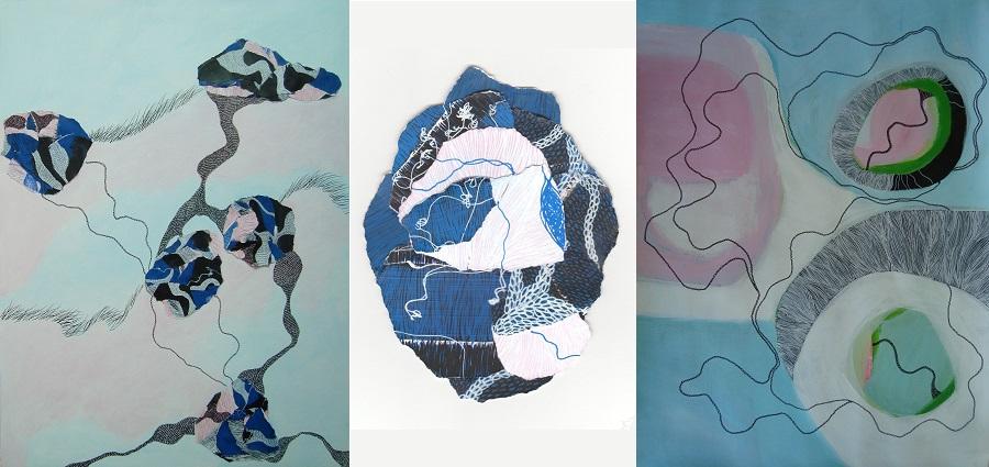 Ondes hypnotiques et collages minéraux par Estelle Boullier
