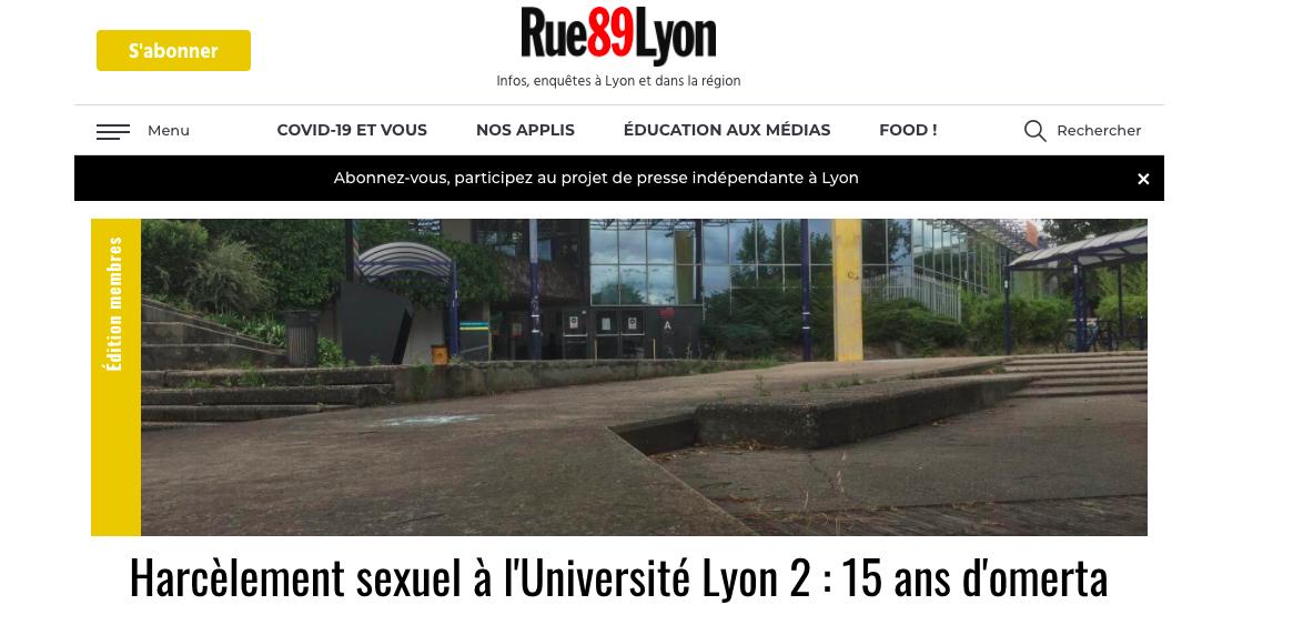 Harcèlement : Rue89Lyon dévoile de tristes dessous à l'Université Lyon 2
